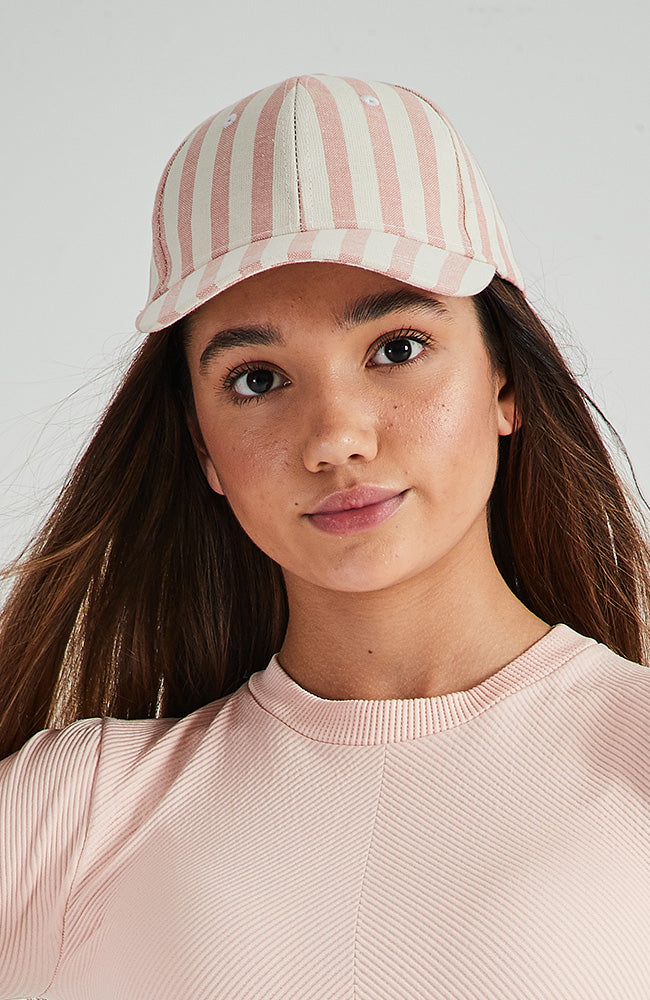 lenora pink striped linen nautical baseball cap