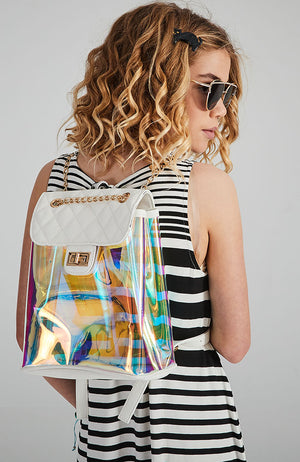 summer quilted transparent vegan leather backpack
