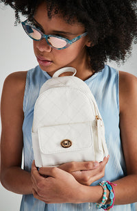 coco quilted pastel vegan leather mini backpack