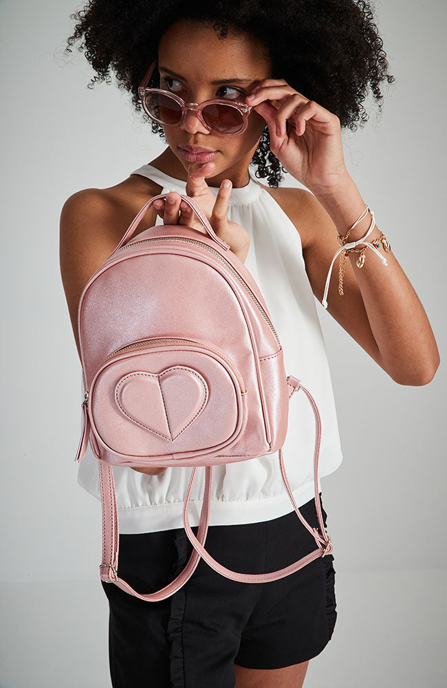 3D heart pastel metallic vegan leather backpack