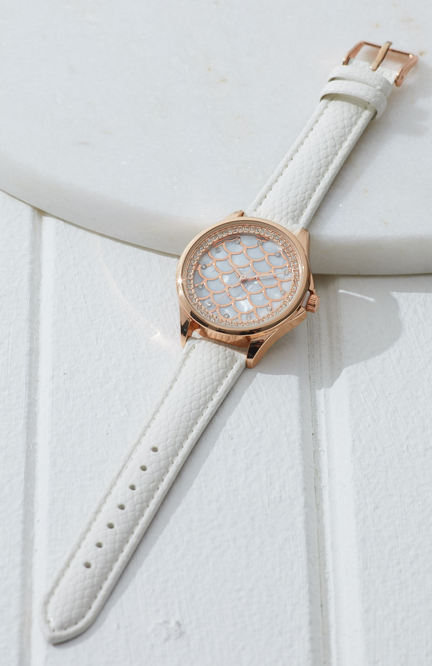 mermaid pearl dial vegan leather watch