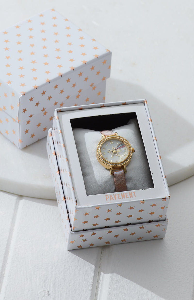crystal star pearl dial vegan leather watch