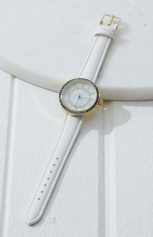 emma ombre diamonds pearl dial vegan leather watch
