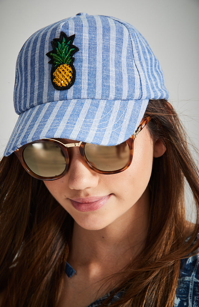 jemima sequin pineapple striped vintage baseball cap