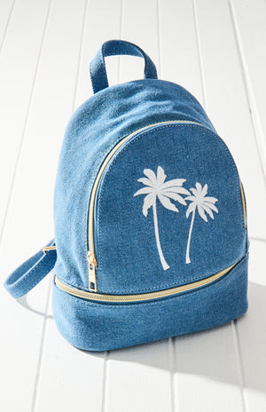 denim palm trees backpack