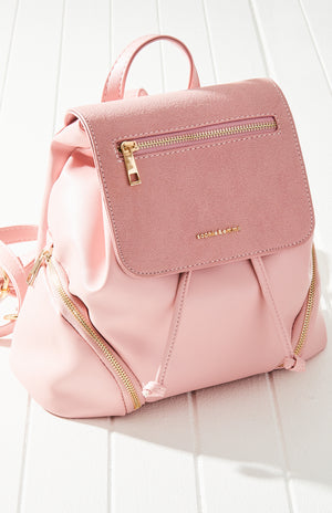 Taylor Vegan Leather Zip Flap Fashion Backpack
