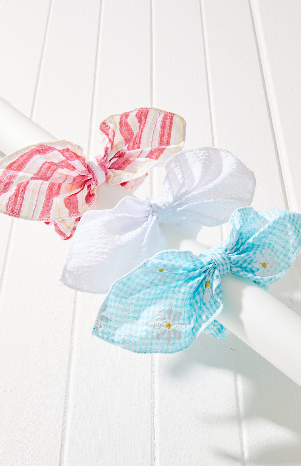 Daisy Print Striped Bow Scrunchie Hair Tie 3 Pack