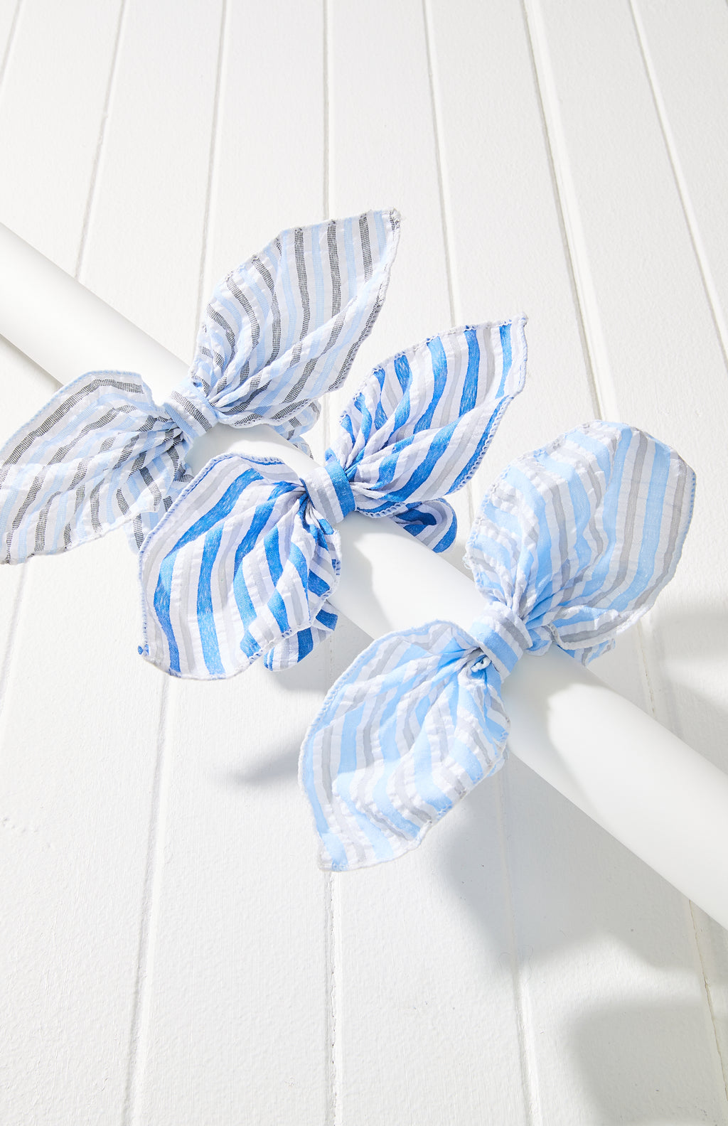 stripes bow scrunchie set