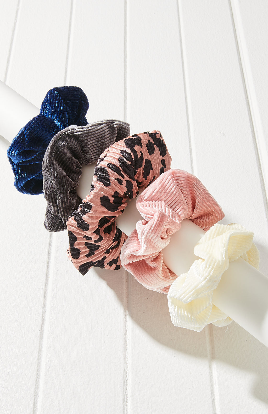 Pleated Velvet Scrunchie Hair Tie 5 Pack