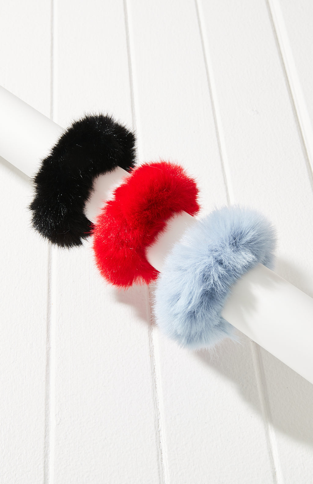 Faux Fur Scrunchie Hair Tie 3 Pack - Red/Black/Blue
