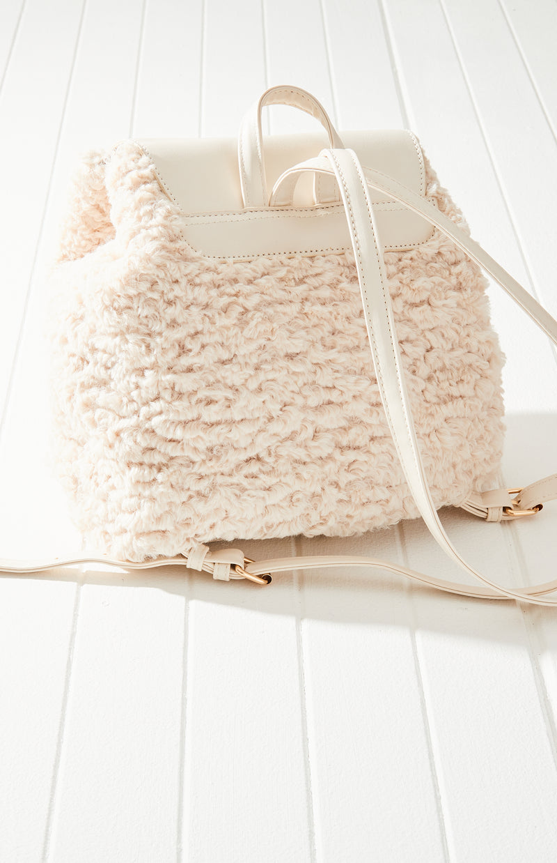 Vintage Super Soft Vegan Shearling Fur Flap Backpack