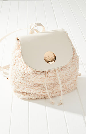 curly shearling backpack