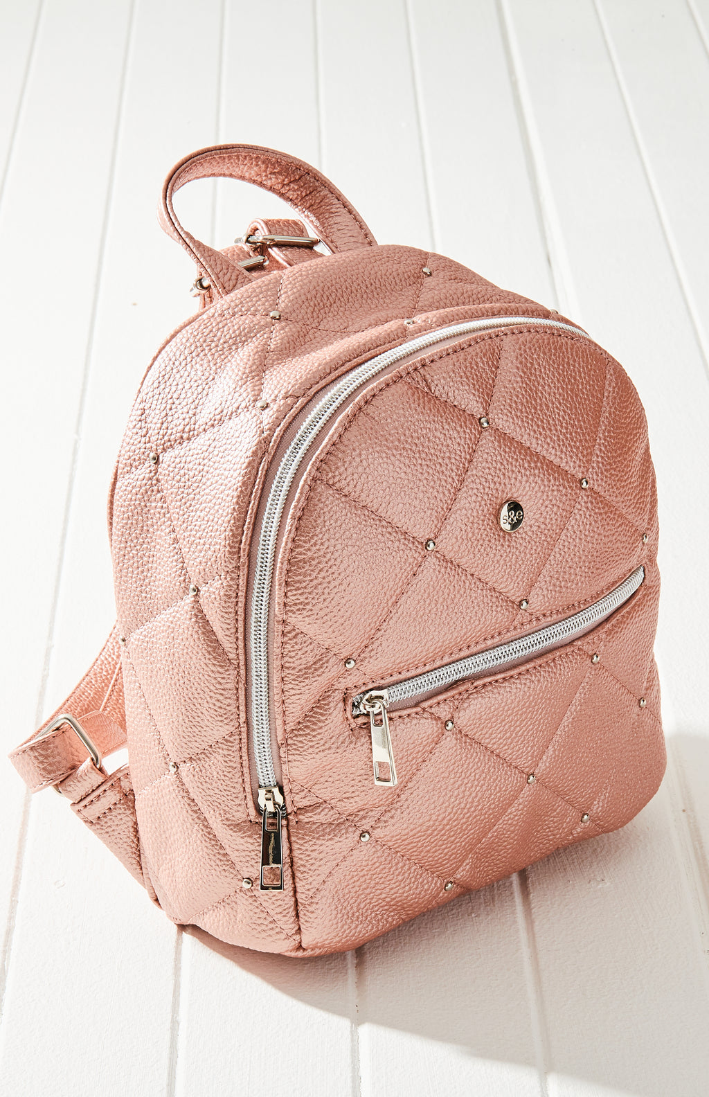 Amelia Diamond Quilted Vegan Leather Studs Mini Backpack