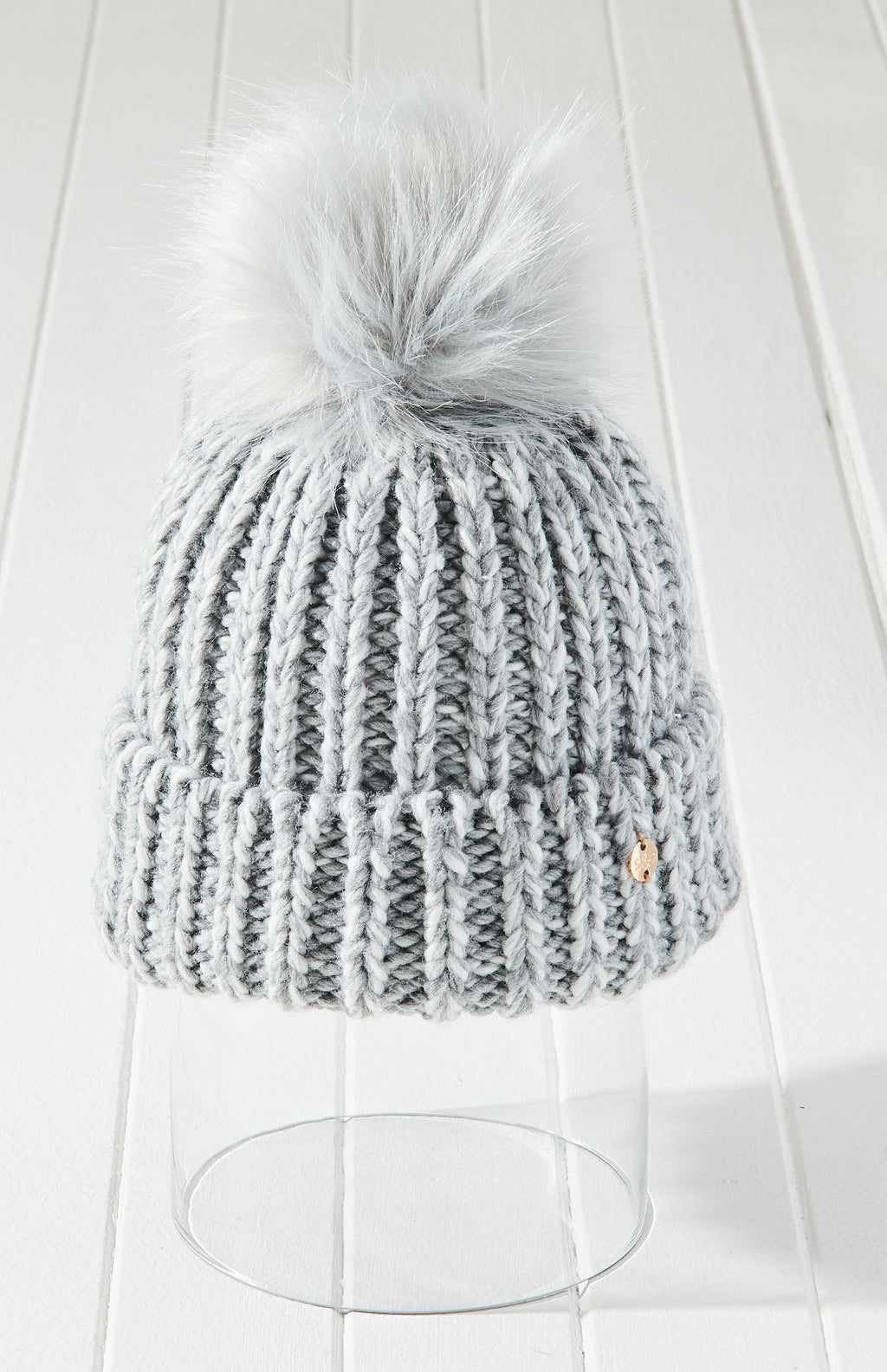 Forever Young Knit Vegan Fur Pom Pom Beanie - Grey