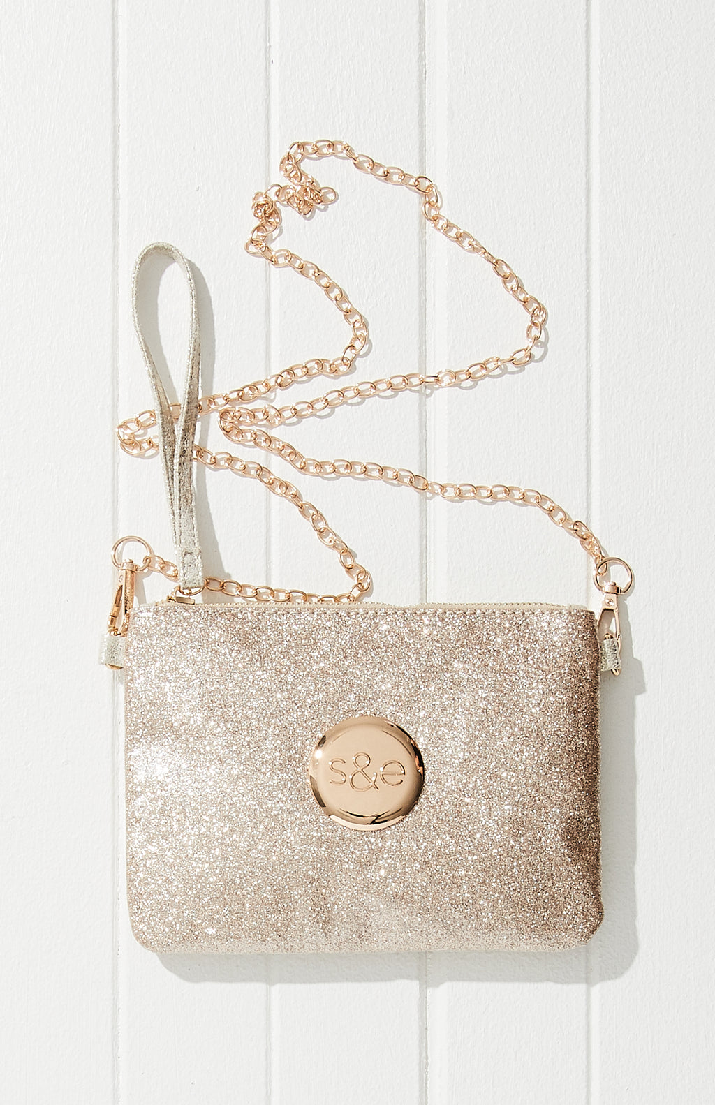 Glitter Logo Pouch Clutch Cross Body Bag