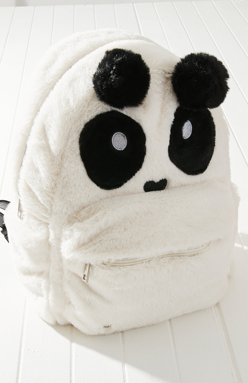 Panda Super Soft Vegan Fur Large Backpack - White