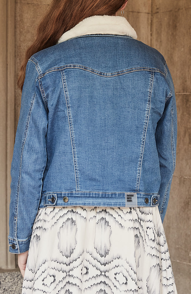 astrid mid blue faux fur trim girls denim jacket
