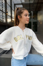 barbara cream faux fur gold letter jacket