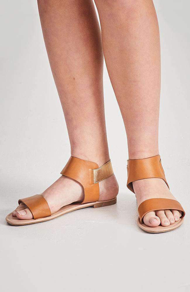 patent party tan elastic vegan leather sandals