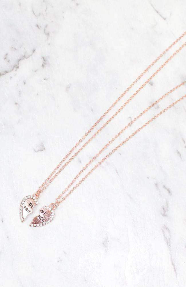 diamond heart best friends necklace