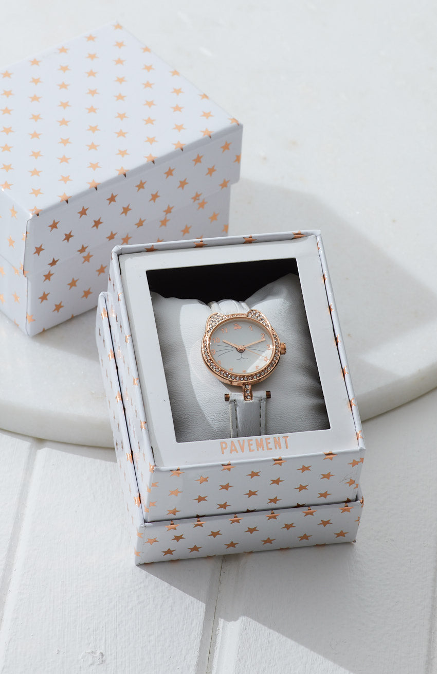 kitty diamond vegan leather watch