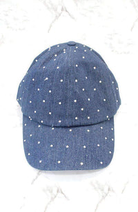 diamond rhinestone blue denim cap