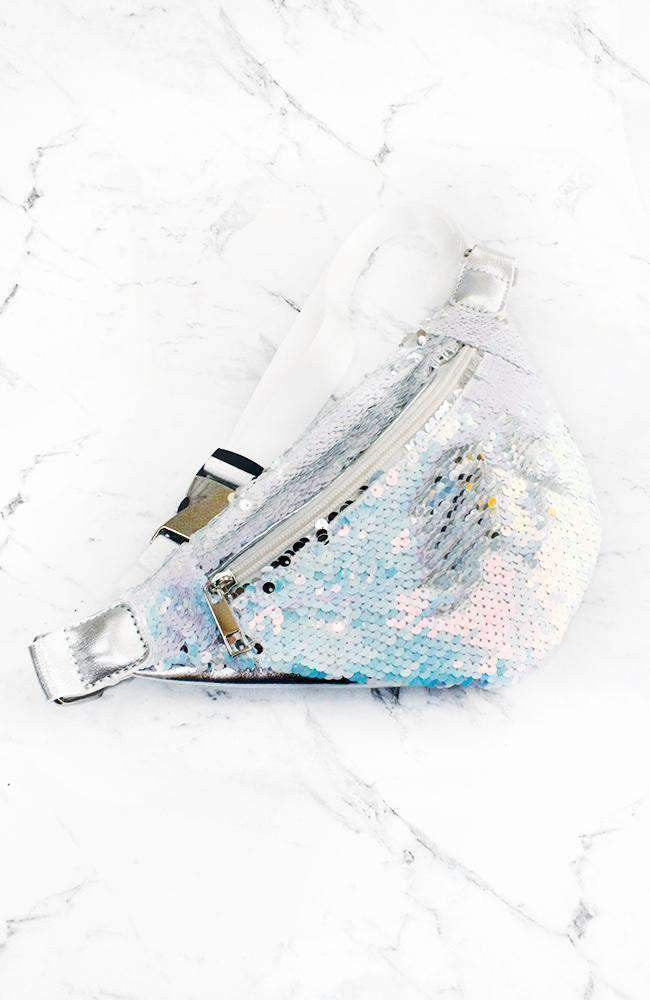 reversible sequin bum bag