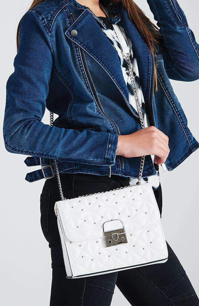 midnight in paris quilted studded party bag