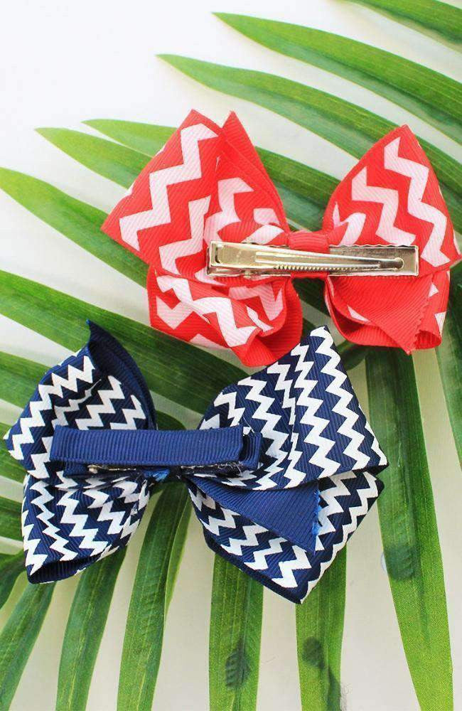 chevron bow hairclip set