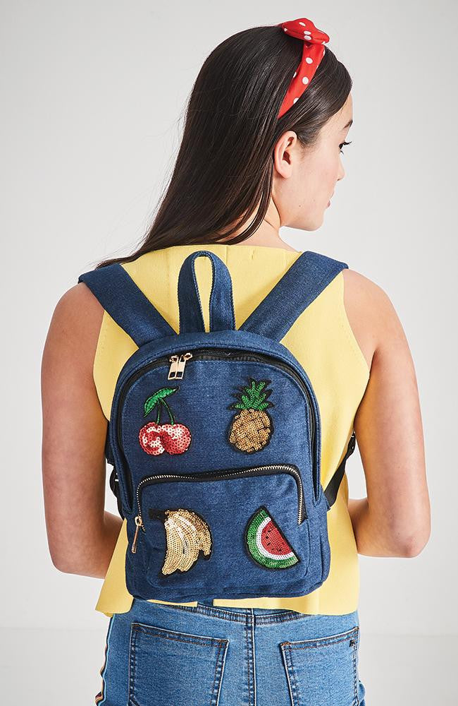sequin fruit applique denim backpack