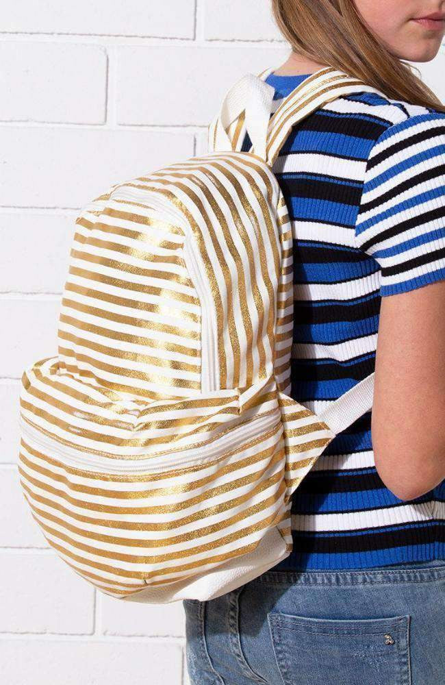 gold stripes backpack