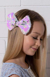 iridescent reversible sequin bow
