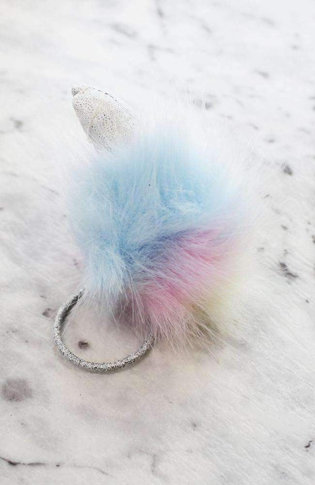 unicorn pom pom hairtie