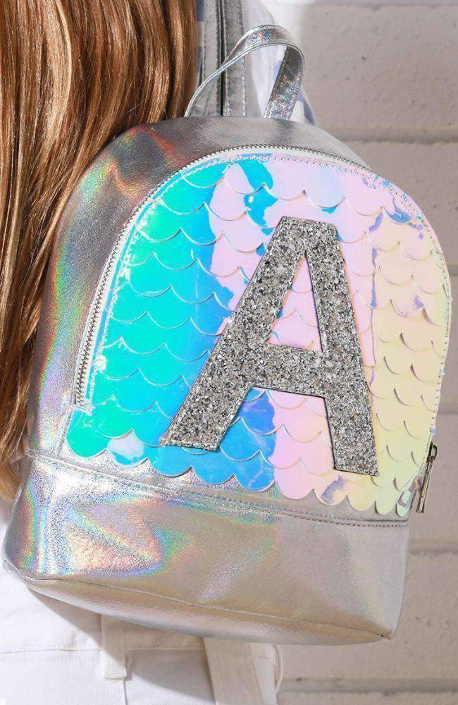mermaid A iridescent metallic scalloped backpack