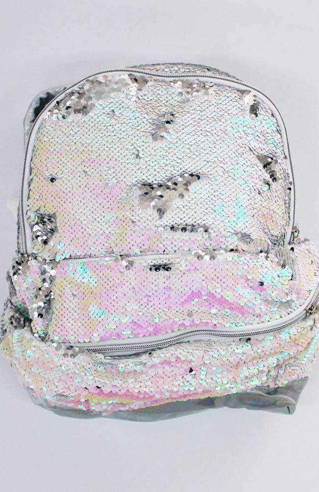 iridescent reversible sequins backpack