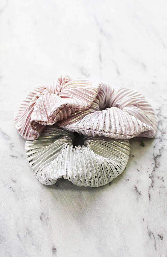 Pleated Shimmer Metallic Scrunchie Hair Tie 3 Pack