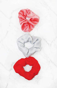 red assorted vintage scrunchie hair tie set