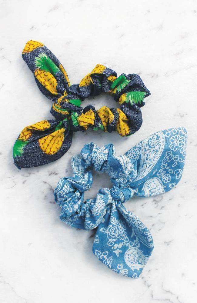 Chambray Denim Pineapple Paisley Print Bow Scrunchie Hair Tie 2 Pack - Blue
