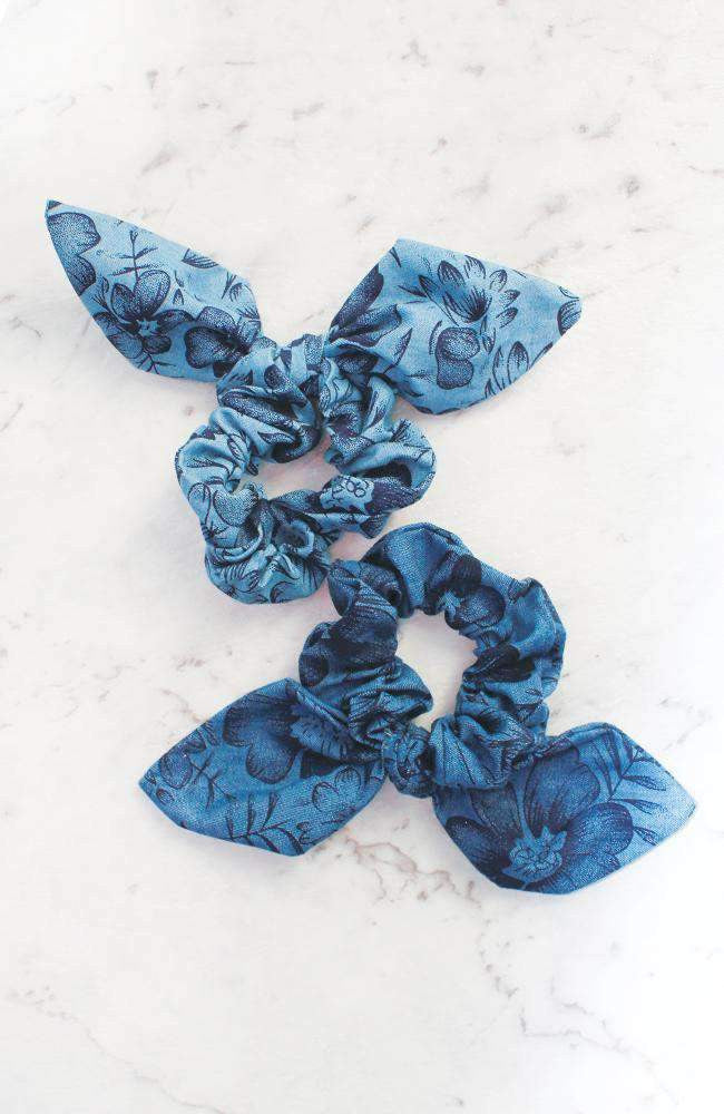 Floral Printed Chambray Denim Bow Scrunchie Hair Tie 2 Pack - Blue