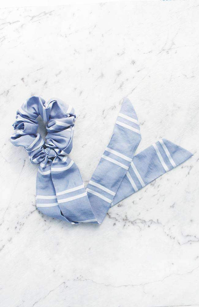 Retro Striped Bow Scarf Scrunchie Hair Tie 2 Pack