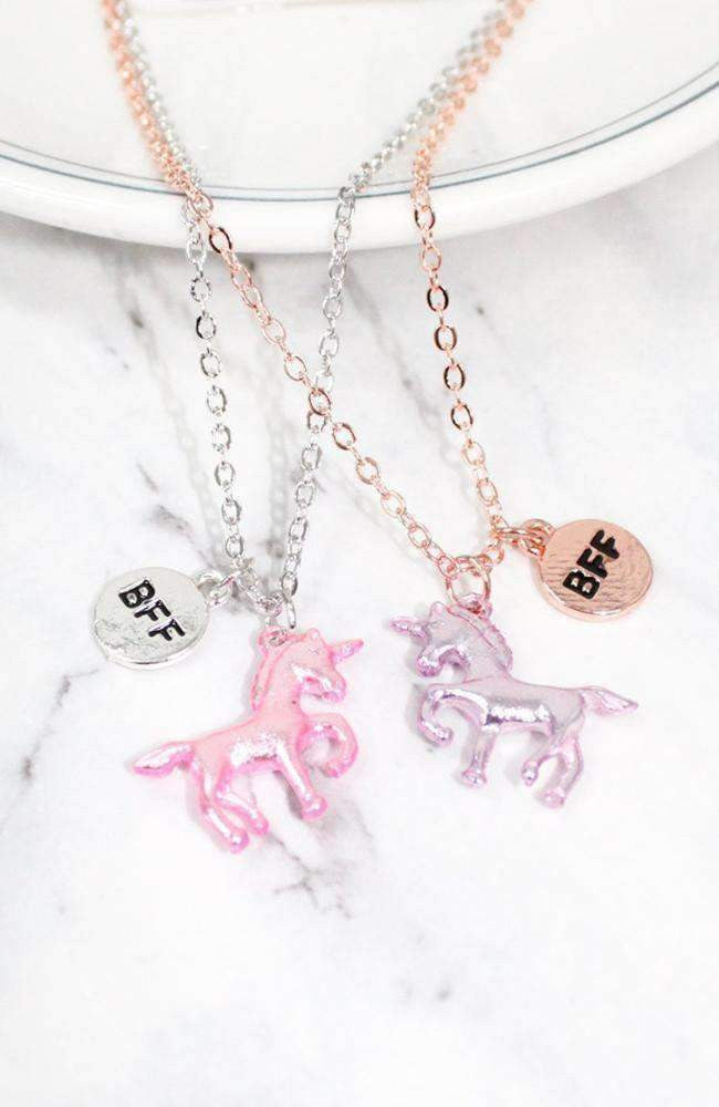 metallic unicorn bff necklace