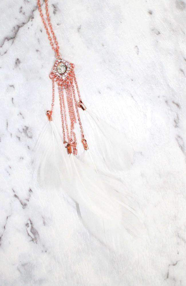 diamond feathers necklace