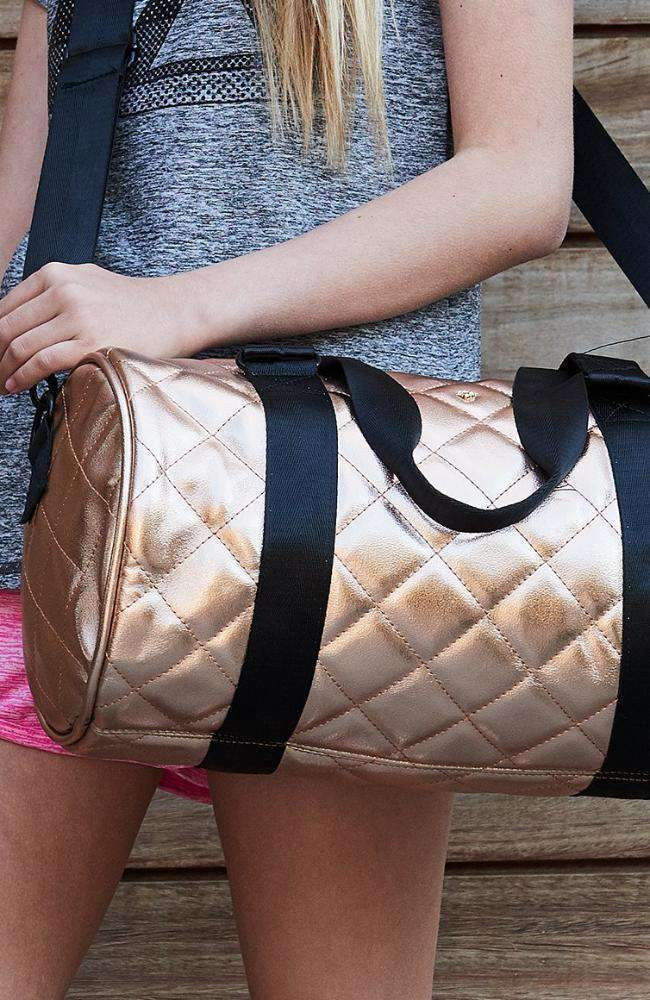 rose pastel shimmer quilted duffel bag