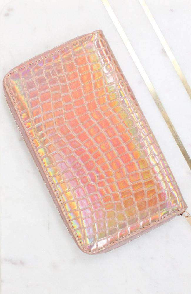 iridescent croc wallet