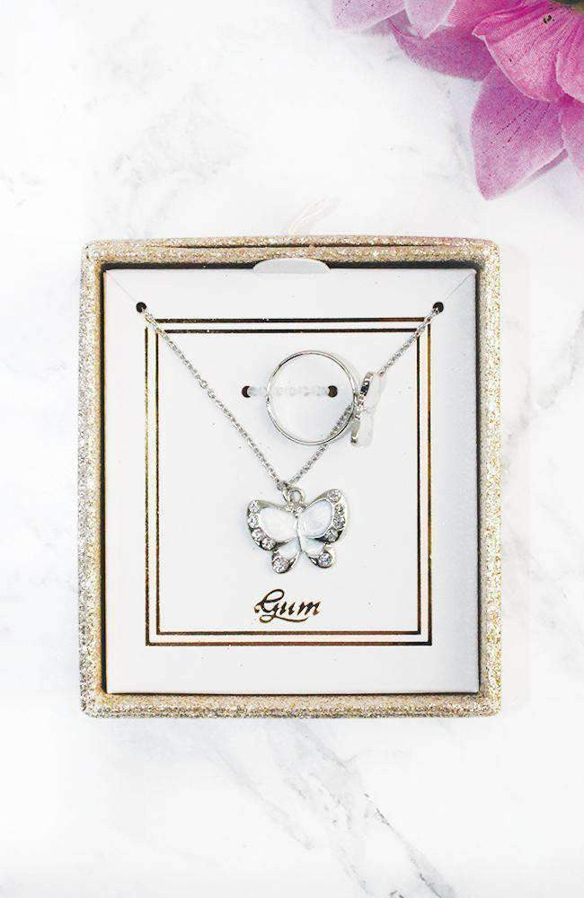 butterfly necklace gift set