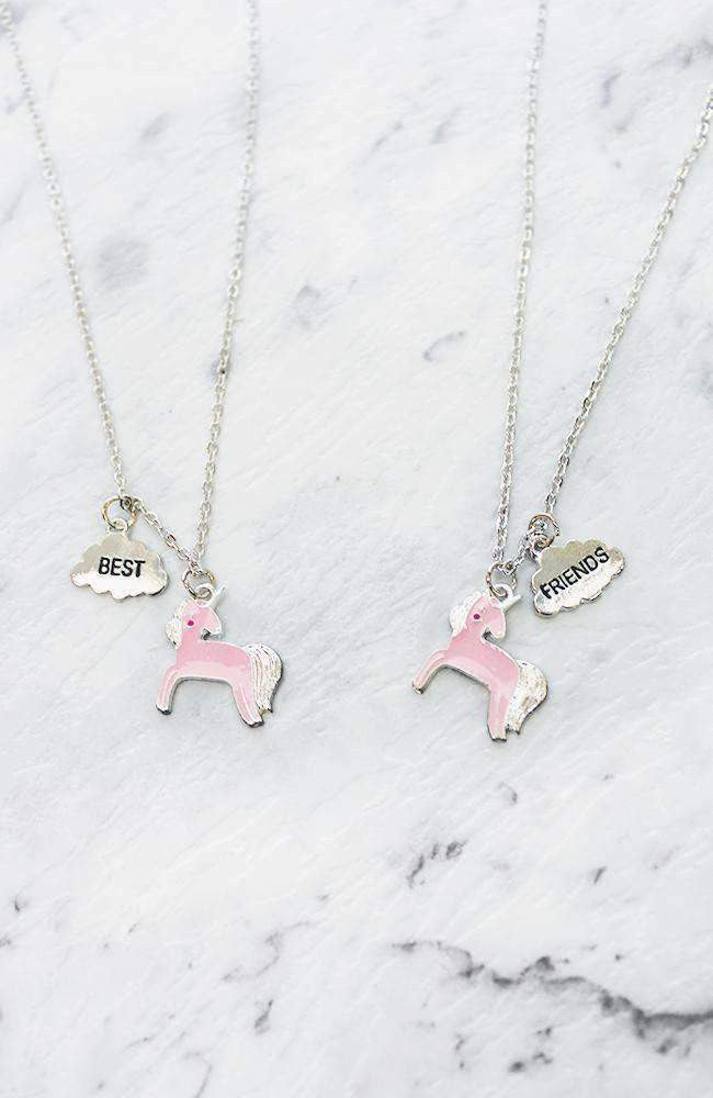 best friends unicorn necklace set