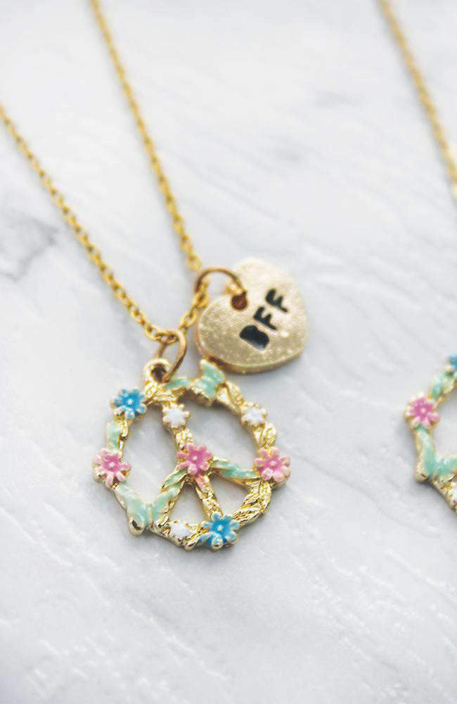 peace bff necklace set