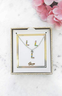 rainbow initial necklace gift set