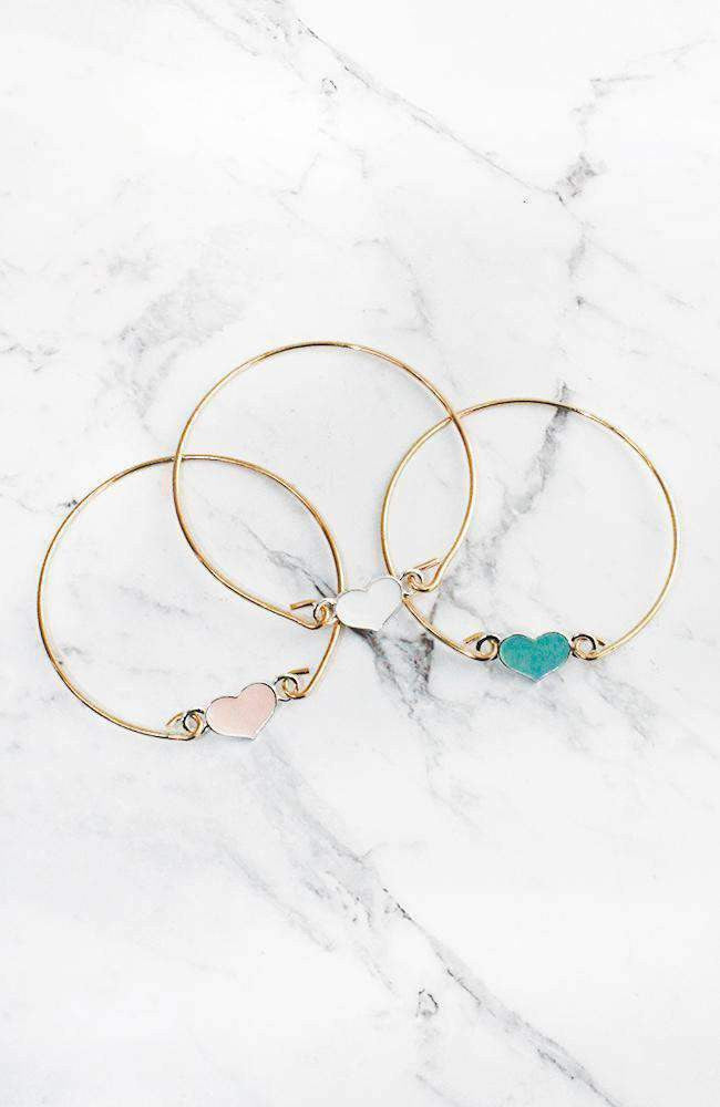 heart bangle set
