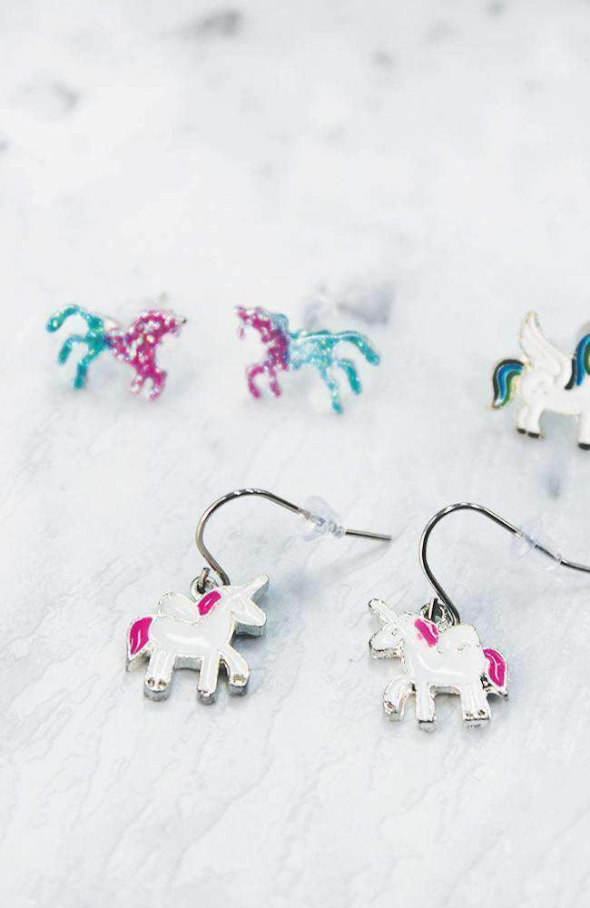 flying unicorn earring set